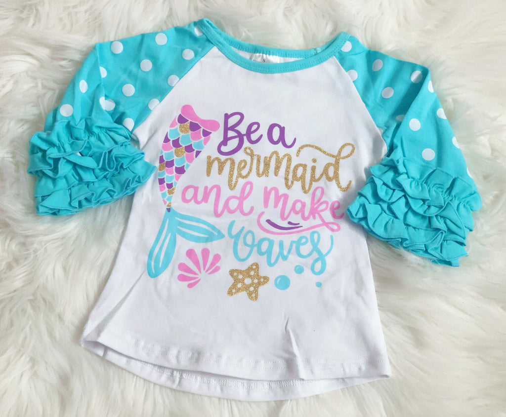 Be a Mermaid and Make Waves Icing Raglan - Nico Bella Boutique