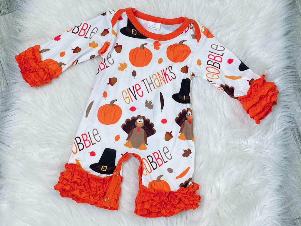 Gobble Gobble Turkey Icing Ruffles Romper - Nico Bella Boutique