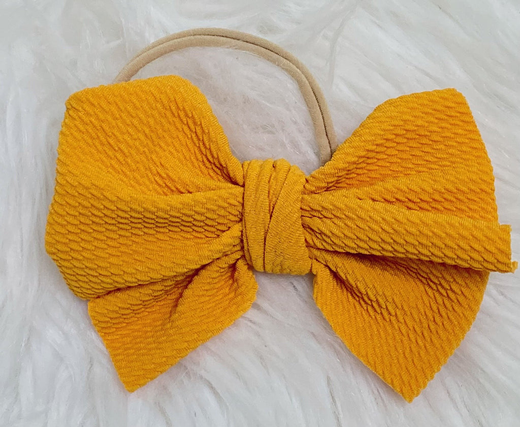 Mustard Nylon Baby Bow Headband - Nico Bella Boutique