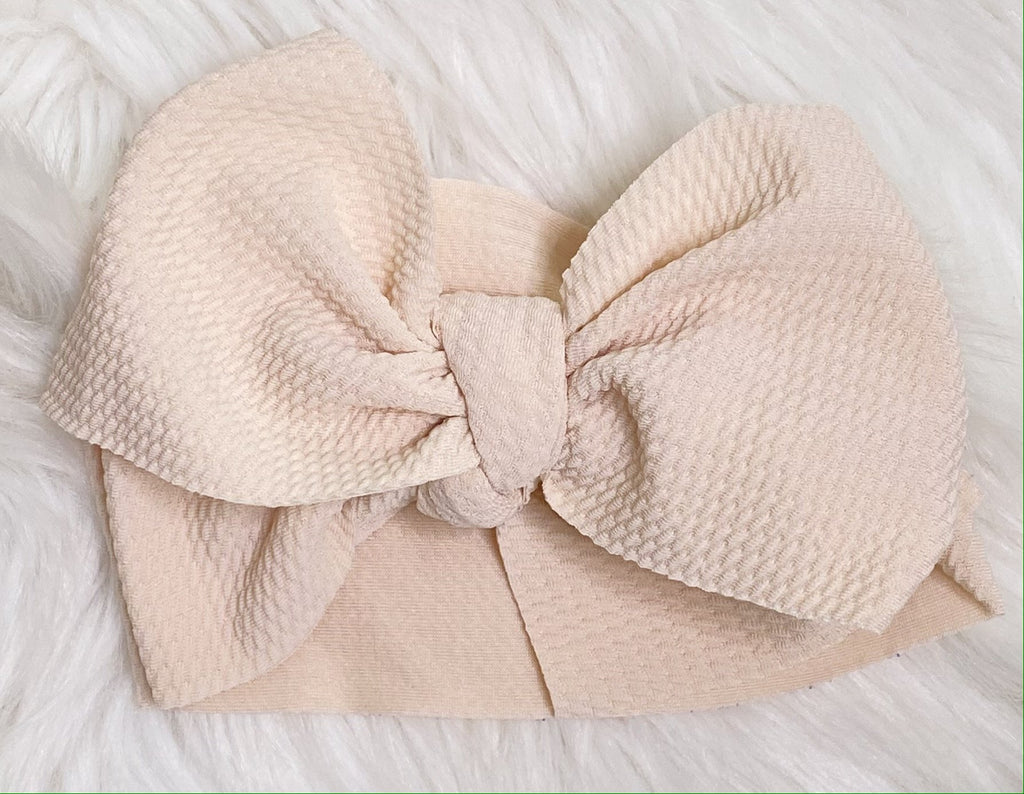 Ivory Head Wrap Bow Headband - Nico Bella Boutique
