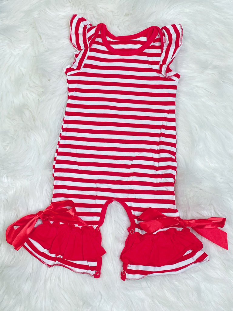Red and White Stripe Romper - Nico Bella Boutique