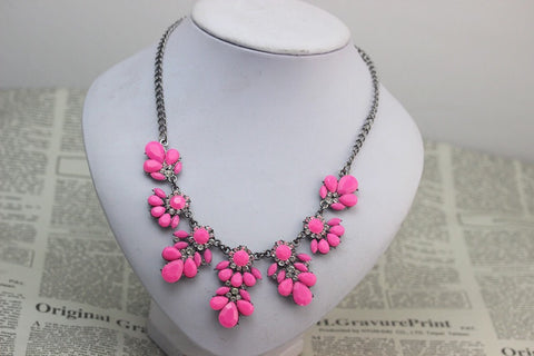Pink Gem Statement Necklace - Nico Bella Boutique