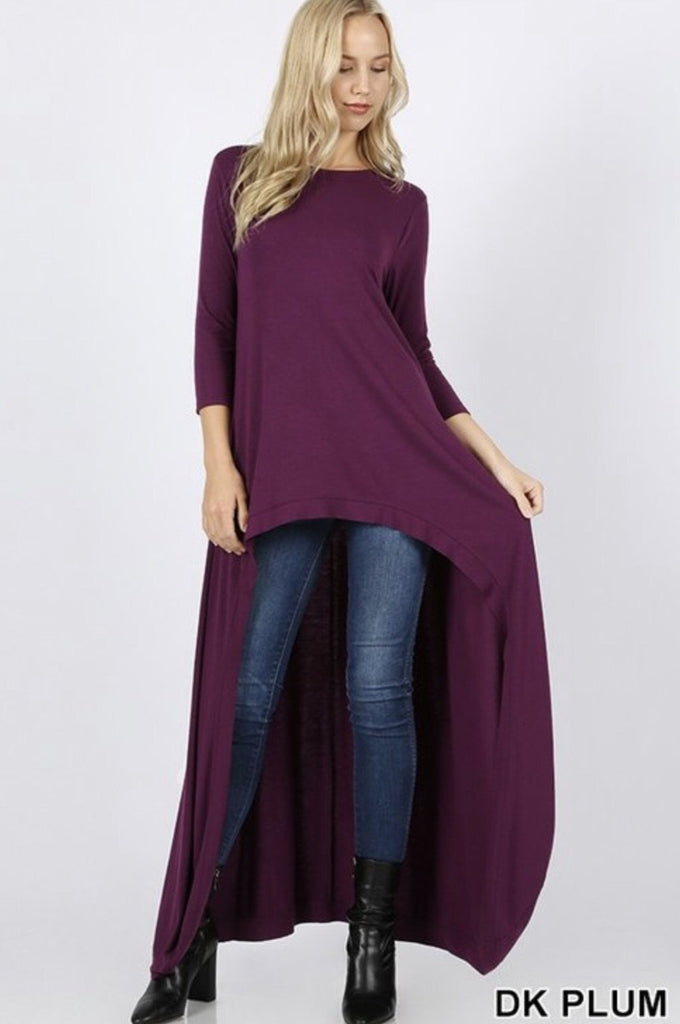 Women's High-Low Dark Plum Longline 3/4 Sleeve Top - Nico Bella Boutique