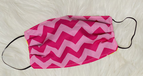 Adult Pink Chevron Face Mask - Nico Bella Boutique
