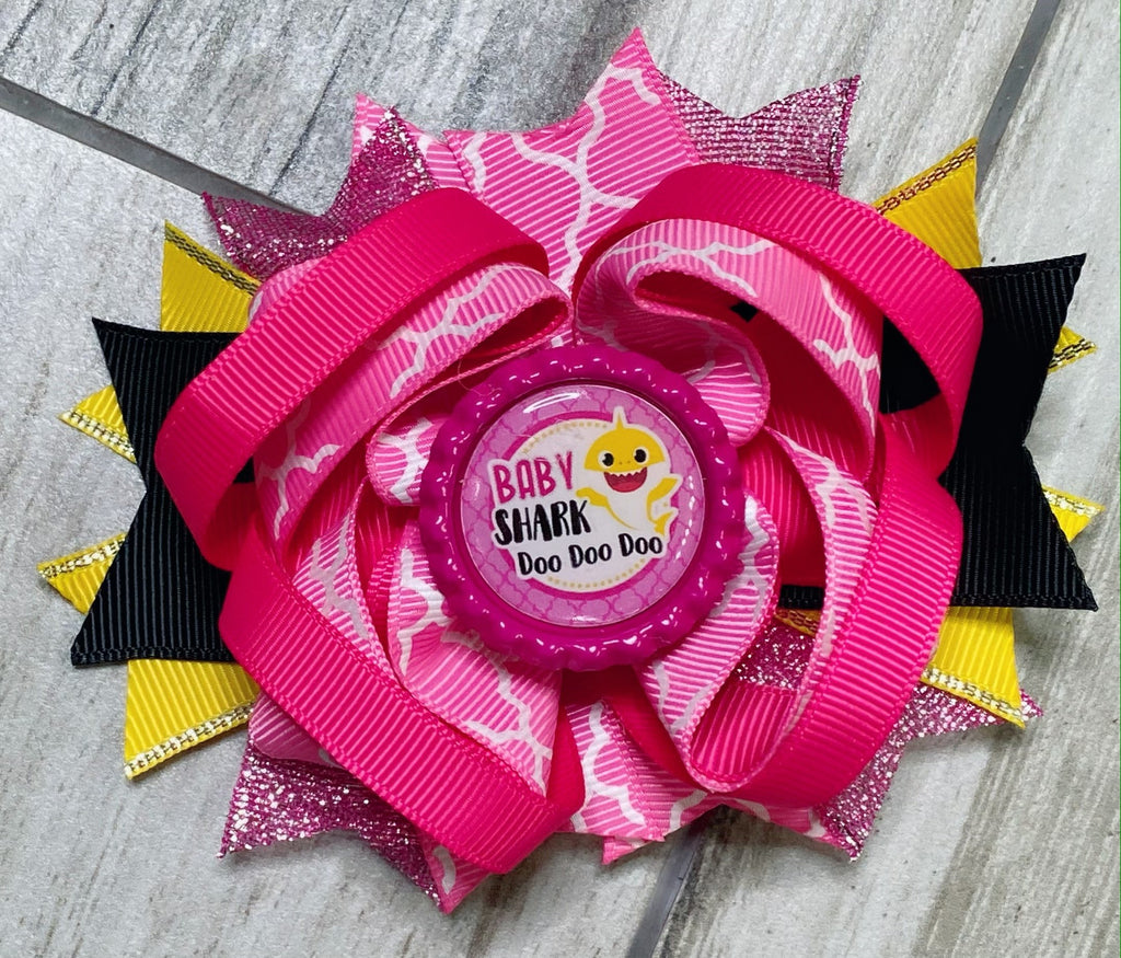 Baby Shark Doo Doo Doo Hair Bow - Nico Bella Boutique