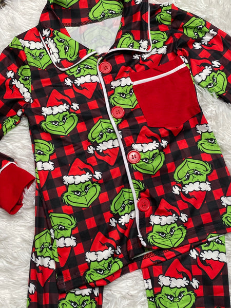 Grinch Buffalo Plaid Pajama Set