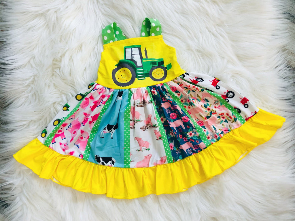 Ultimate Tractor Farm Twirl Dress - Nico Bella Boutique