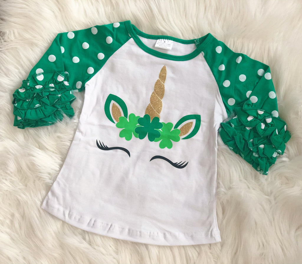 St. Patrick's Day Unicorn Clover Girls Icing Raglan - Nico Bella Boutique