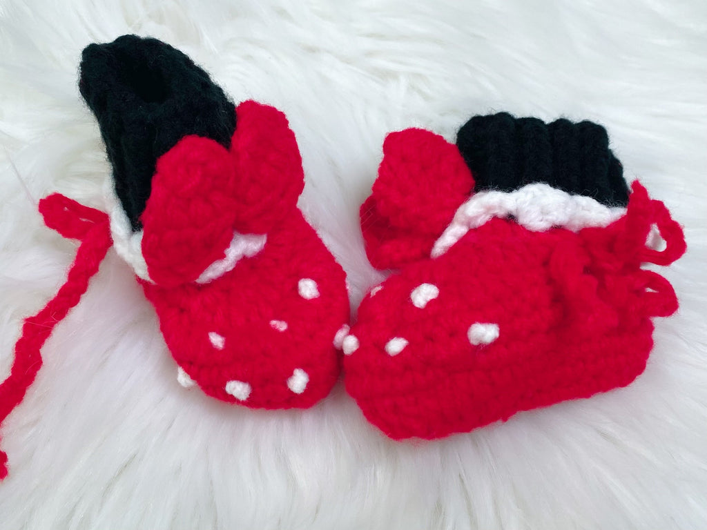 Minnie Mouse Crochet Baby Booties - Nico Bella Boutique