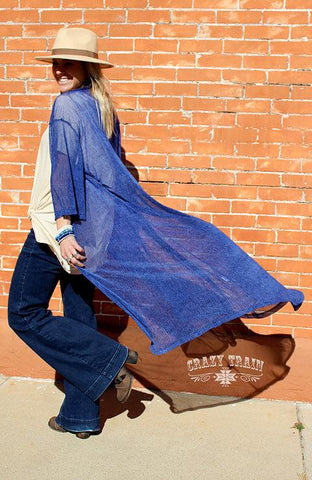 Heather Blue Duster - Nico Bella Boutique