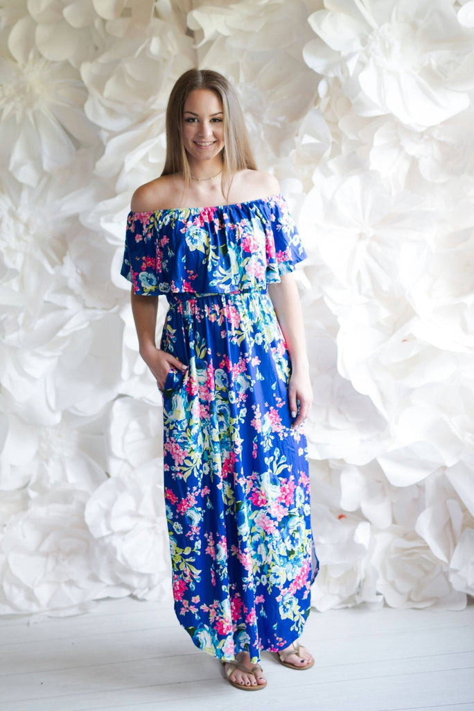 Blue Floral Off Shoulder Maxi Dress - Nico Bella Boutique