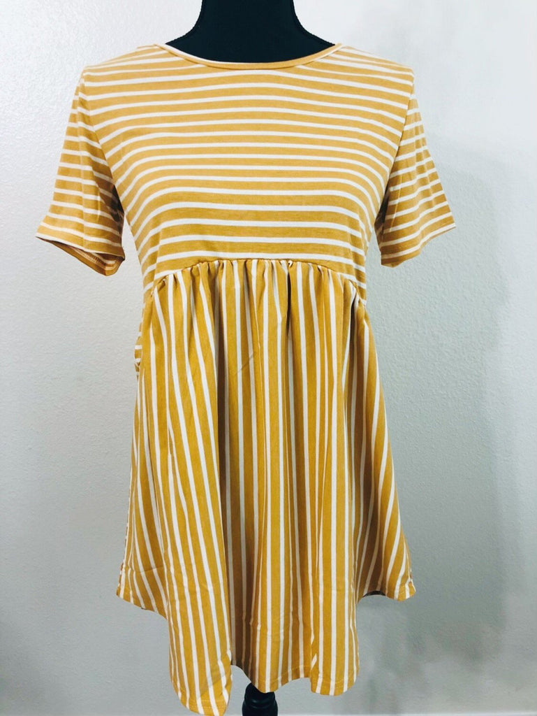 Mustard Stripe Criss Cross Tunic - Nico Bella Boutique