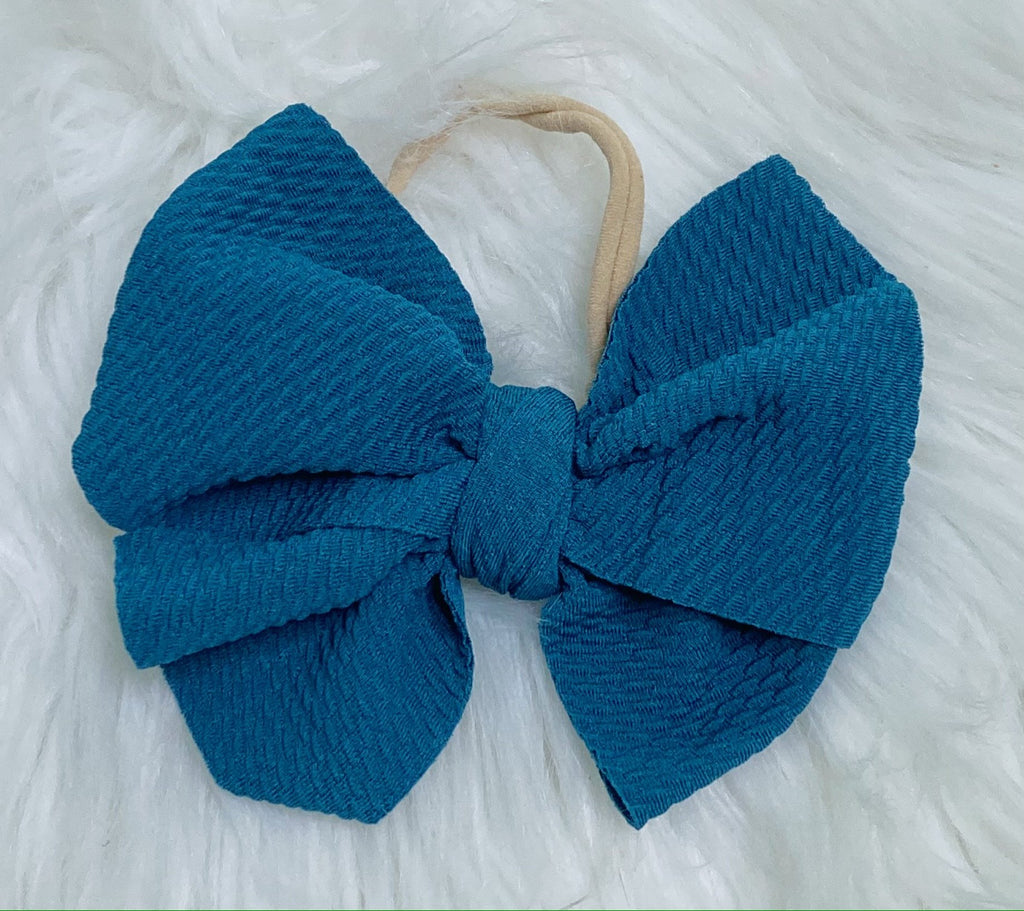 Teal Nylon Baby Bow Headband - Nico Bella Boutique