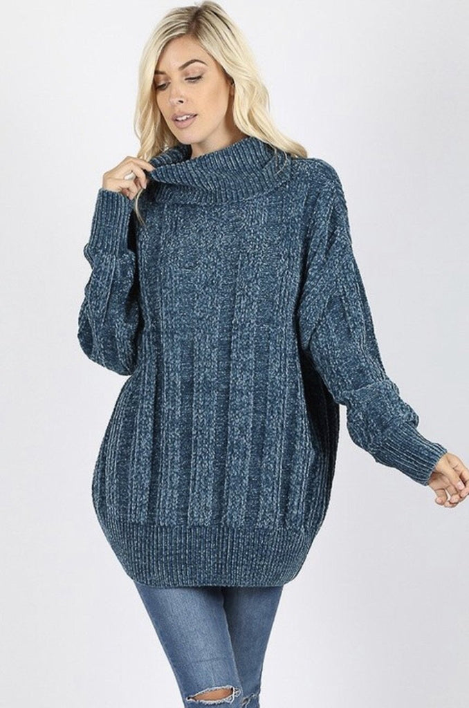 Women's Teal Over sized Cable Knit Chenille Sweater - Nico Bella Boutique
