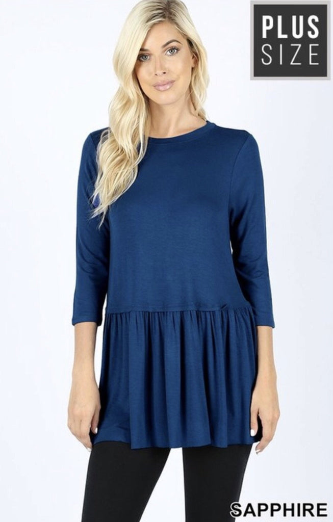 Women's Sapphire Rayon Ruffle Bottom 3/4 Sleeve Plus Size - Nico Bella Boutique