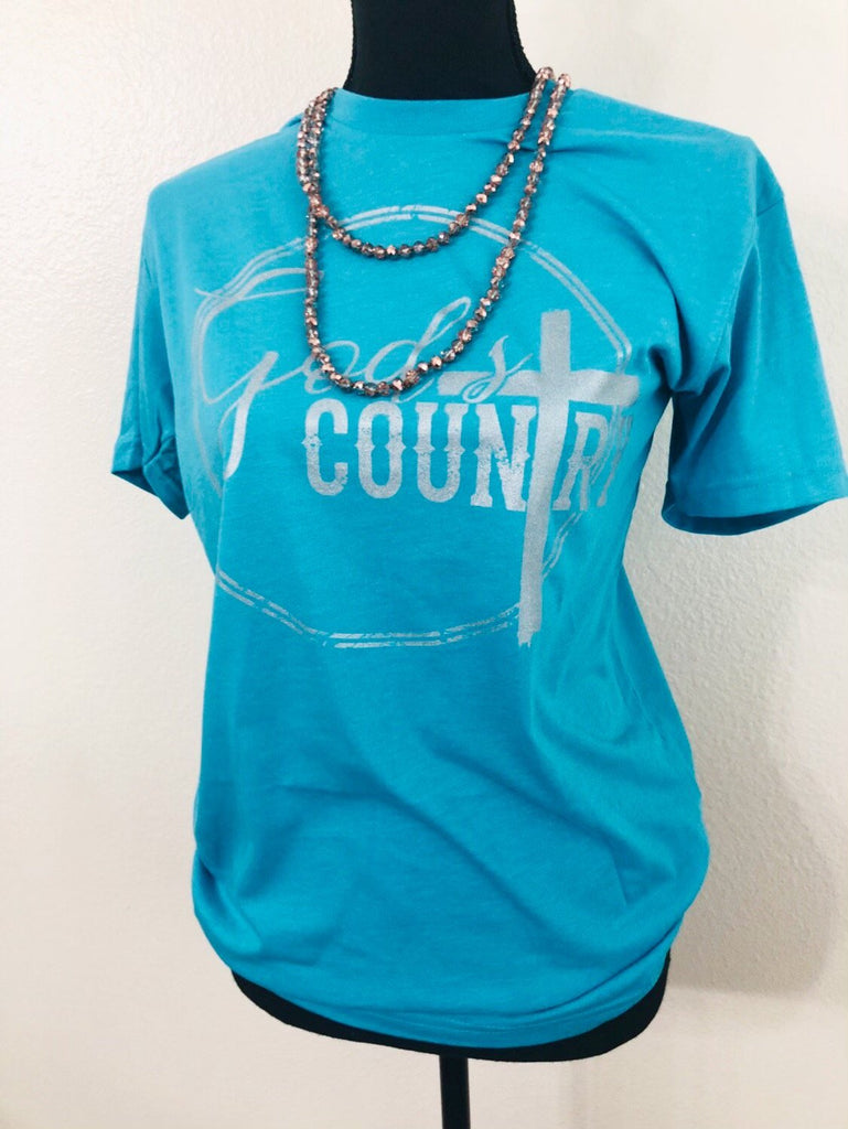 God's Country Silver Turquoise Graphic Tee - Nico Bella Boutique
