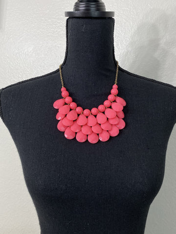 Bright Pink Teardrop Necklace - Nico Bella Boutique