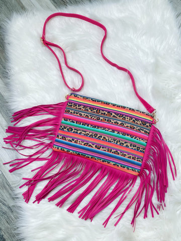 Leopard Serape Hot Pink Fringe Crossbody Bag - Nico Bella Boutique