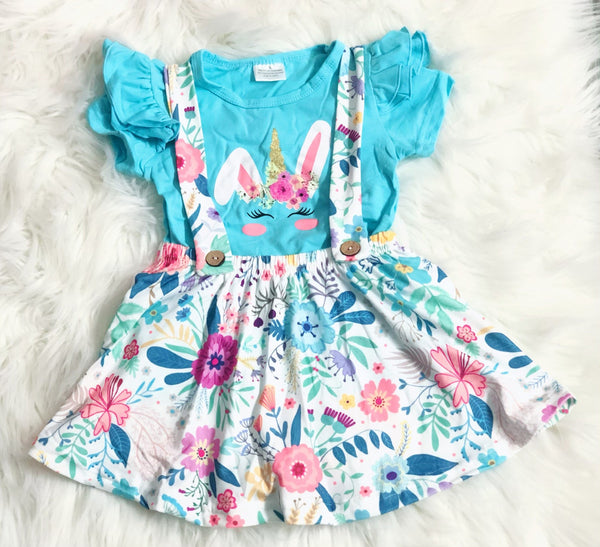 Bunny Floral Overall Skirt Set - Nico Bella Boutique