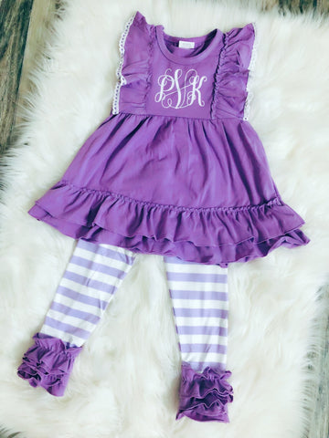 Purple Stripe Monogram Set - Nico Bella Boutique