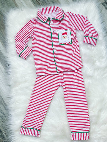 Santa Stripe Boys Pajamas - Nico Bella Boutique