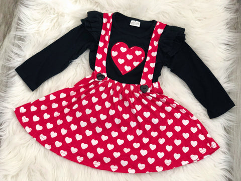 Girls Heart Overall Skirt Set - Nico Bella Boutique