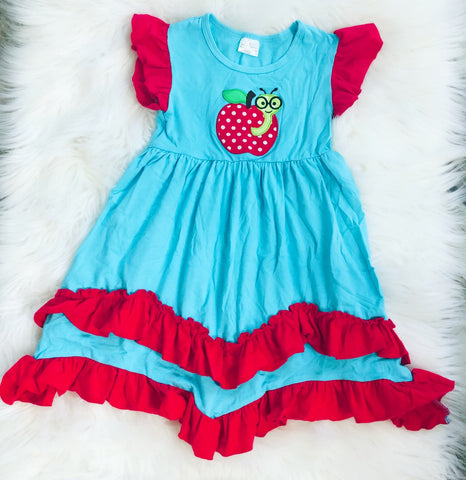 Worm Apple Applique Dress - Nico Bella Boutique