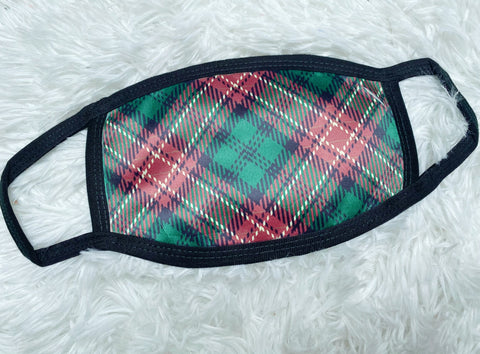 Green Christmas Plaid Face Mask