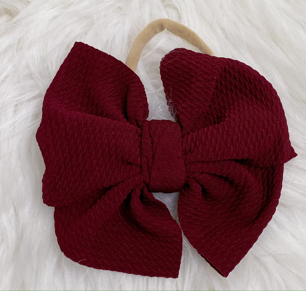 Wine Nylon Baby Bow Headband - Nico Bella Boutique