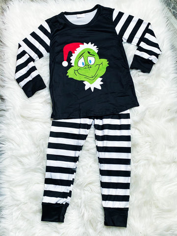 Grinch Stripe Pajamas - Nico Bella Boutique