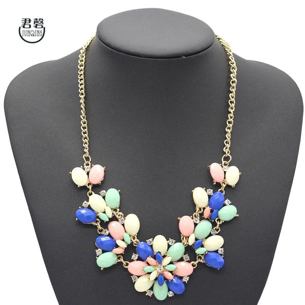 Multi-Flower Gem Statement Necklace - Nico Bella Boutique