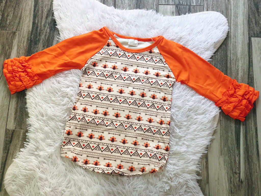 Girls Aztec Turkey Raglan - Nico Bella Boutique
