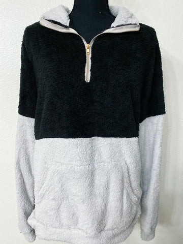 Women's Black Color Block Sherpa - Nico Bella Boutique