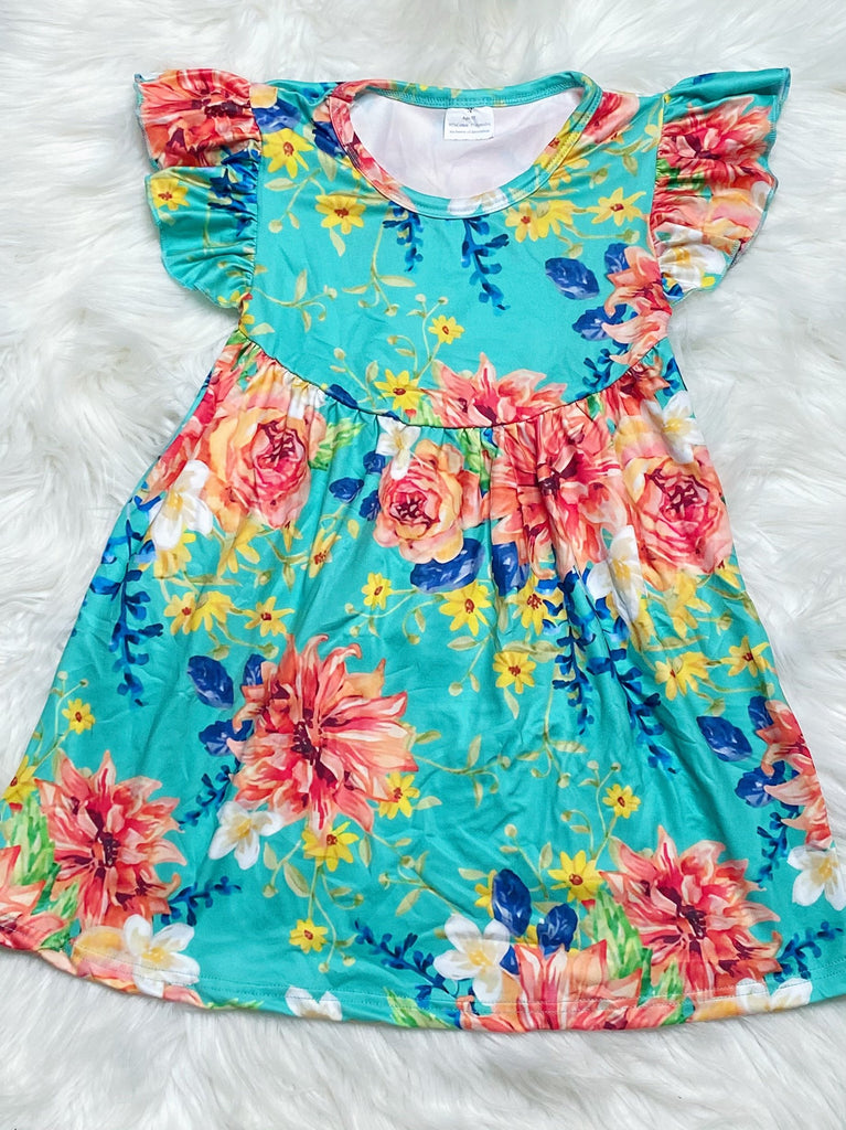 Turquoise Floral Pearl Dress - Nico Bella Boutique