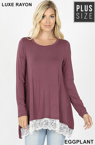 Eggplant Lace Trim Hi-Lo Top - Nico Bella Boutique