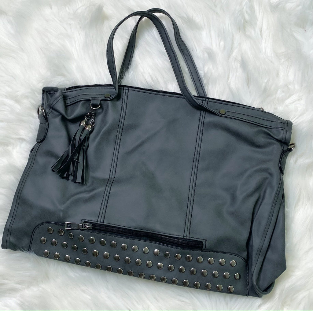 Charcoal Black Rivet Stud Tote Bag Purse - Nico Bella Boutique