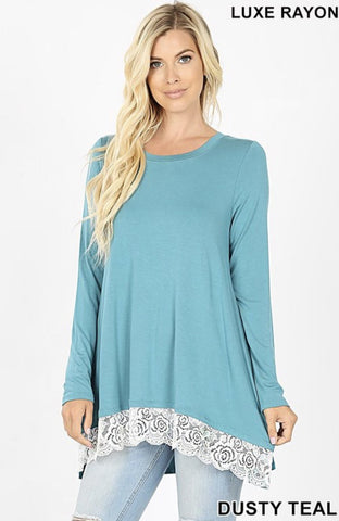 Dusty Teal Lace Trim Hi-Lo Top - Nico Bella Boutique