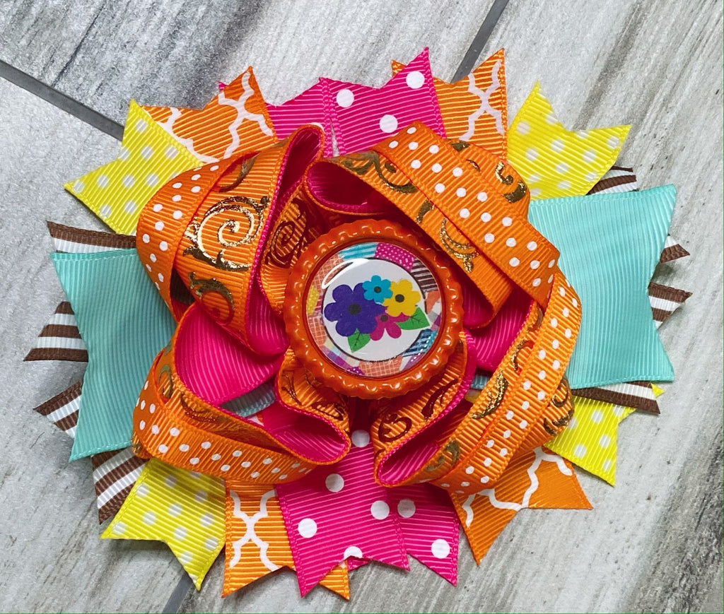 Bright Floral Hair Bow - Nico Bella Boutique