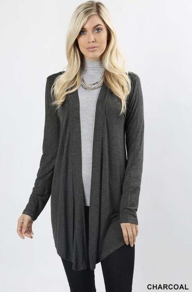 Women's Charcoal Cardigan - Nico Bella Boutique