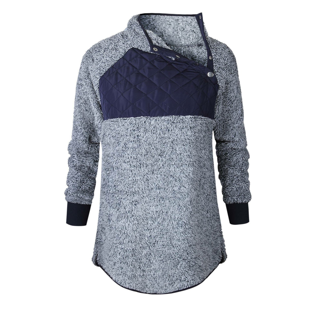 Women's Navy Quilted Sherpa Pullover - Nico Bella Boutique