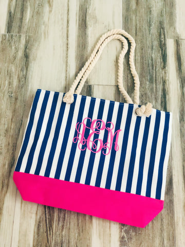 Hot Pink Stripe Monogram Beach Tote - Nico Bella Boutique