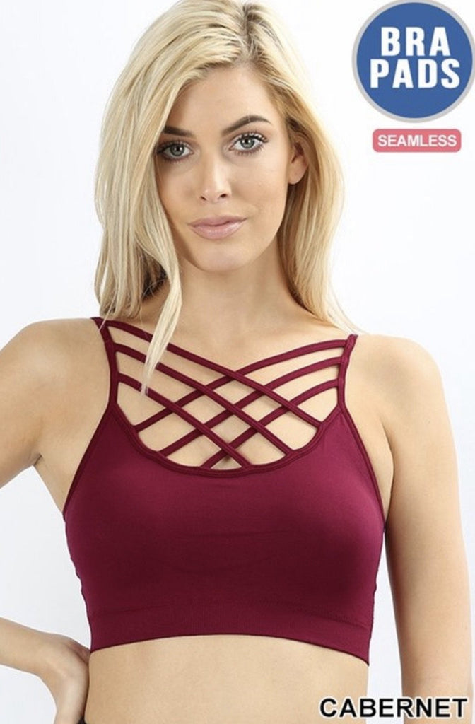Cabernet Seamless Triple Criss-cross Front Bralette - Nico Bella Boutique