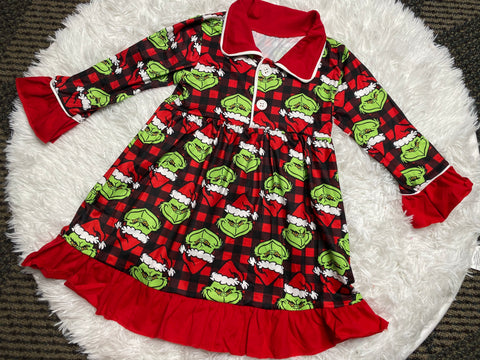 Girls Grinch Buffalo Plaid Pajama Gown