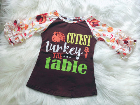 Cutest Turkey at the Table Girls Raglan - Nico Bella Boutique