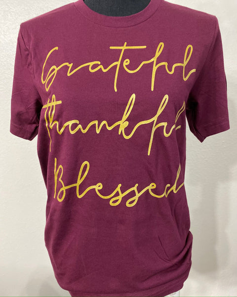 Grateful Thankful Blessed Maroon Graphic Tee - Nico Bella Boutique