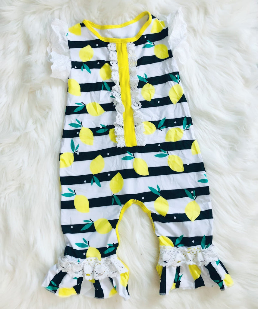 Lemon Stripe Romper - Nico Bella Boutique