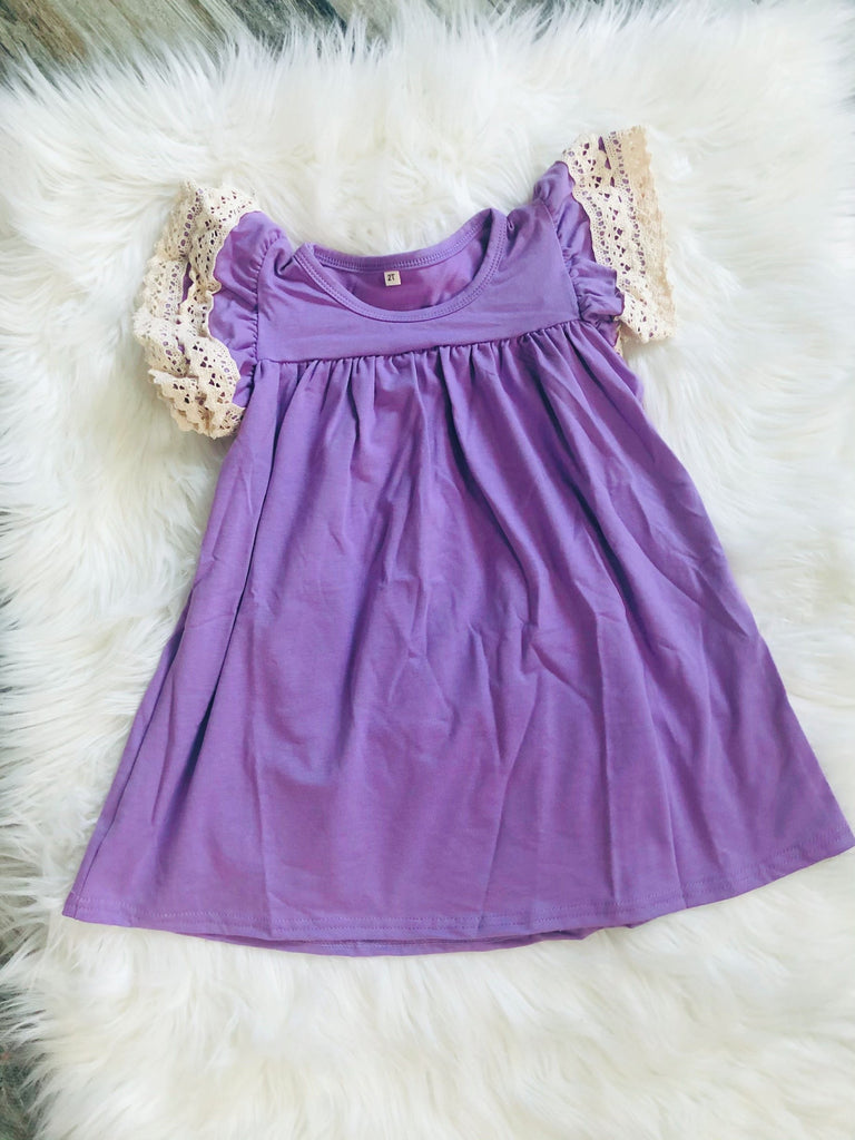 Lavender Crochet Pearl Dress - Nico Bella Boutique