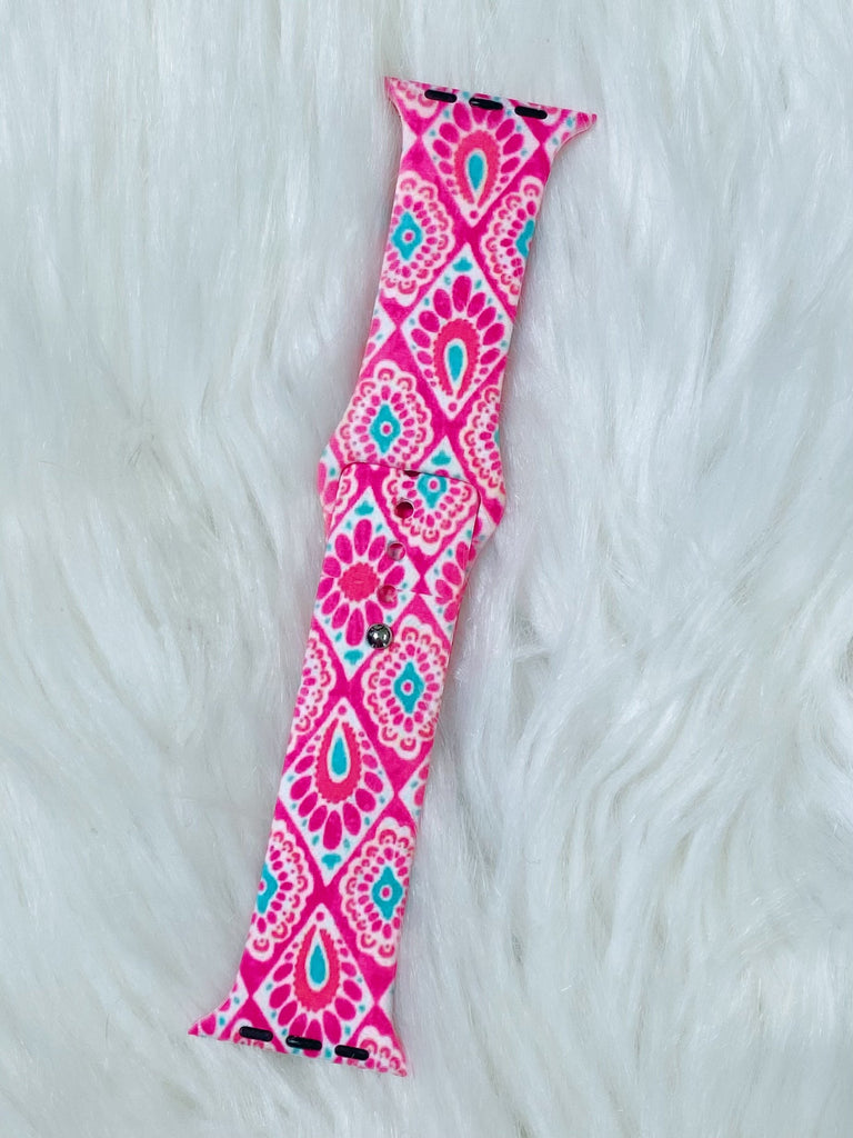 Pink and Turquoise Diamond Damask i-Watch Band - Nico Bella Boutique