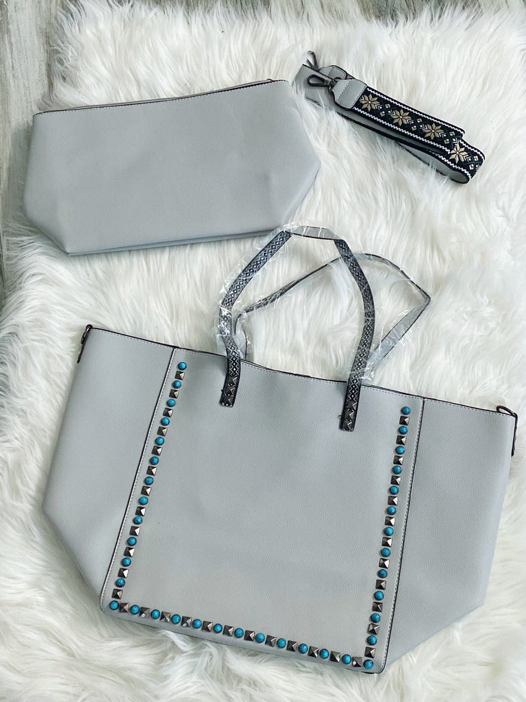 Light Grey Monogram Guitar Strap Bag - Nico Bella Boutique