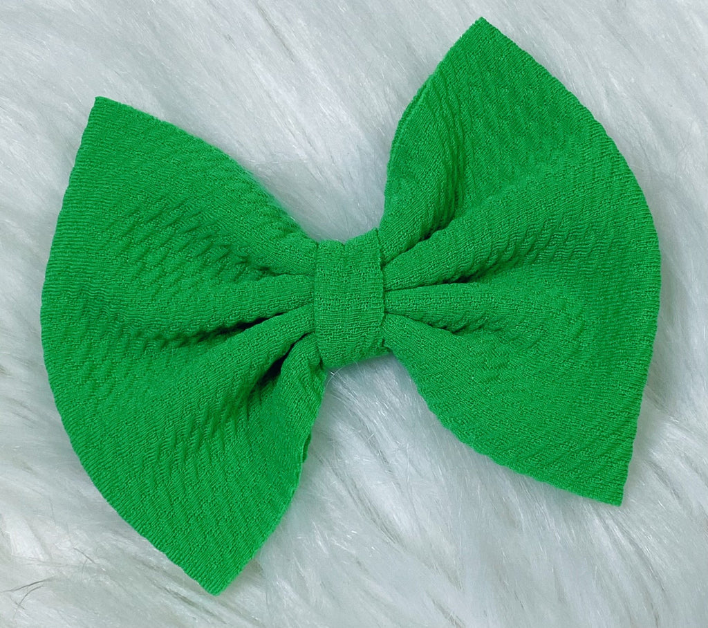 Green Nylon Bow Hair Clip - Nico Bella Boutique